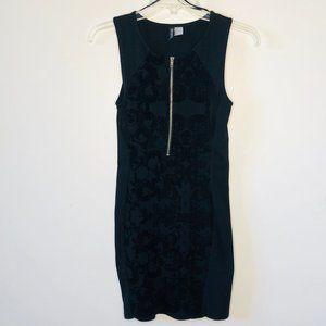 H & M Sexy Zip Front Stretch Midi Dress